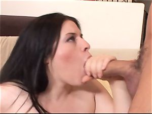 Daphne Rosen gets her wet vagina packed with firm salami