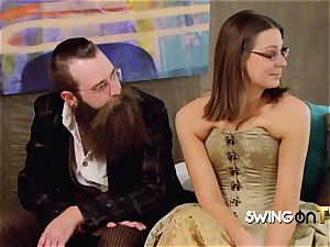 Bearded spouse eats his wifey s muff before encounter other swingers
